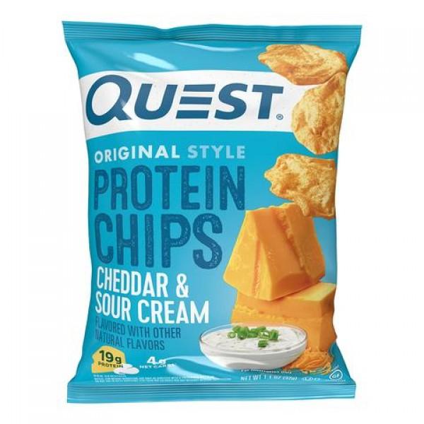 كويست بروتين شيبس بنكهة التشيدر والساور كريم